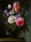 Roses and a Tulip in a Glass Vase. Jan Philip van Thielen