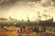 The painting Coastal Landscape with Ships by the Dutch painter Adam Willaerts Adam Willaerts