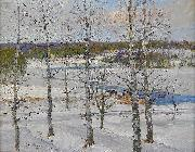 Winter landscape of Norrland with birch trees Anton Genberg