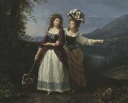 Aleksandra and Izabela Potocki taking a stroll near to lake Albano. Carlo Labruzzi