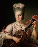 Madame Clotilde playing the guitar Francois-Hubert Drouais