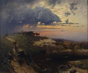 Freight of Timber Landscape with Lightning HOFFMANN, Hans