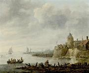 River Scene with a Fortified Shore Jan van  Goyen