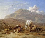 Southern landscape with young shepherd and dog Karel Dujardin