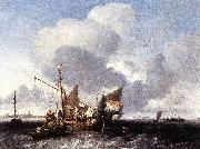 Ships on the Zuiderzee before the Fort of Naarden Ludolf Bakhuizen