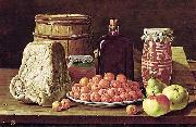 Still Life with Fruit and Cheese Luis Eugenio Melendez