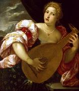 Young Woman Playing a Lute MICHELI Parrasio