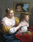 Girl with a Mirror, an Allegory of Profane Love Paulus Moreelse