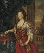 Marie Therese de Bourbon dressed in a red and gold gown Pierre Mignard