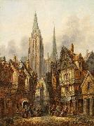 A gothic cathedral in a medieval city Pieter Cornelis Dommersen