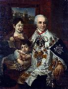 Portrait of count G.G. Kushelev with children Vladimir Lukich Borovikovsky