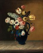 Still life, flowers in a blue jug oil on canvas painting by Van Diemonian (Tasmanian) artist and convict William Buelow Gould (1801 - 1853). William Buelow Gould
