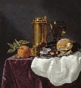 Tankard with Oysters, Bread and an Orange resting on a Draped Ledge simon luttichuys