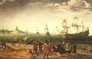 The painting Coastal Landscape with Ships Adam Willaerts