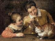 Two Children Teasing a Cat Annibale Carracci