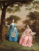 Double Portrait of Alicia and Jane Clarke in a Wooden Landscape Arthur Devis