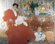 Mrs Dora Lamm and Her Two Eldest Sons Carl Larsson