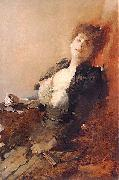 Portrait of a woman with a fan and a cigarette Franciszek zmurko