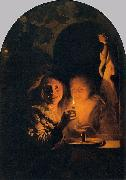 Lovers Lit by a Candle Godfried Schalcken