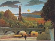 Seine and Eiffel-tower in the sunset Henri Rousseau