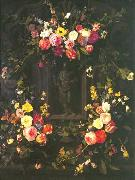 Garland of flowers surrounding Christ figure in grisaille Jan Philip van Thielen