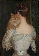 Woman with Cat Lilla Cabot Perry
