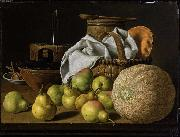 Still Life with Melon and Pears Luis Eugenio Melendez