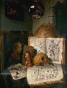 Vanitas still life with skull, books, prints and paintings by Rembrandt and Jan Lievens, with a reflection of the painter at work simon luttichuys