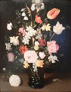 Flowers in a glass vase Ambrosius Bosschaert