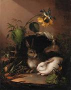 Two rabbits in an upturned basket with a blue tit on a sunflower Carl Johann Lasch