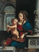 Madonna and Child againt the renaissance background Joos van cleve