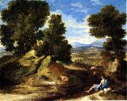 Landscape with a Man Drinking or Landscape with a Man scooping Water from a Stream Nicolas Poussin