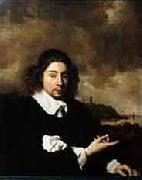 Self portrait against landscape background by Jan van Goyen Pieter Cornelis Dommersen