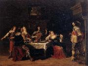 Cavaliers and courtesans in an interior Christoph jacobsz.van der Lamen