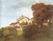The Houses of the Chateau D Ornans Courbet, Gustave