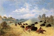 Comanche Indians Chasing Buffalo with Lances and Bows George Catlin