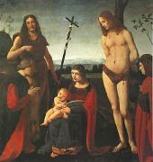 The Virgin and Child with Saints John the Baptist and Sebastian Between Two Donors (mk05) BOLTRAFFIO, Giovanni Antonio