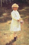 Girl with a Bouquet (Vera,the Artist's Daughter) (nn02) Ilya Repin