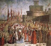 Scenes from the Life of St Ursula:The Pilgrims are met by Pope Cyriacus in front of the Walls of Rome CARPACCIO, Vittore
