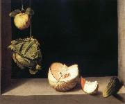 Still life with quince,cabbage,Melon and Cucumber Juan Sanchez-Cotan