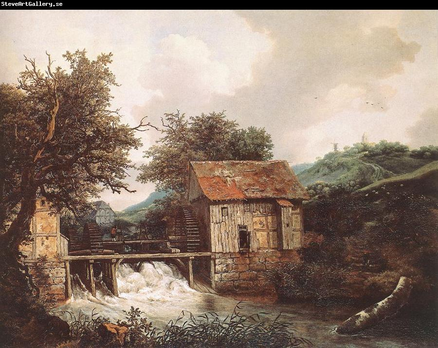 RUISDAEL, Jacob Isaackszon van Two Watermills and an Open Sluice near Singraven