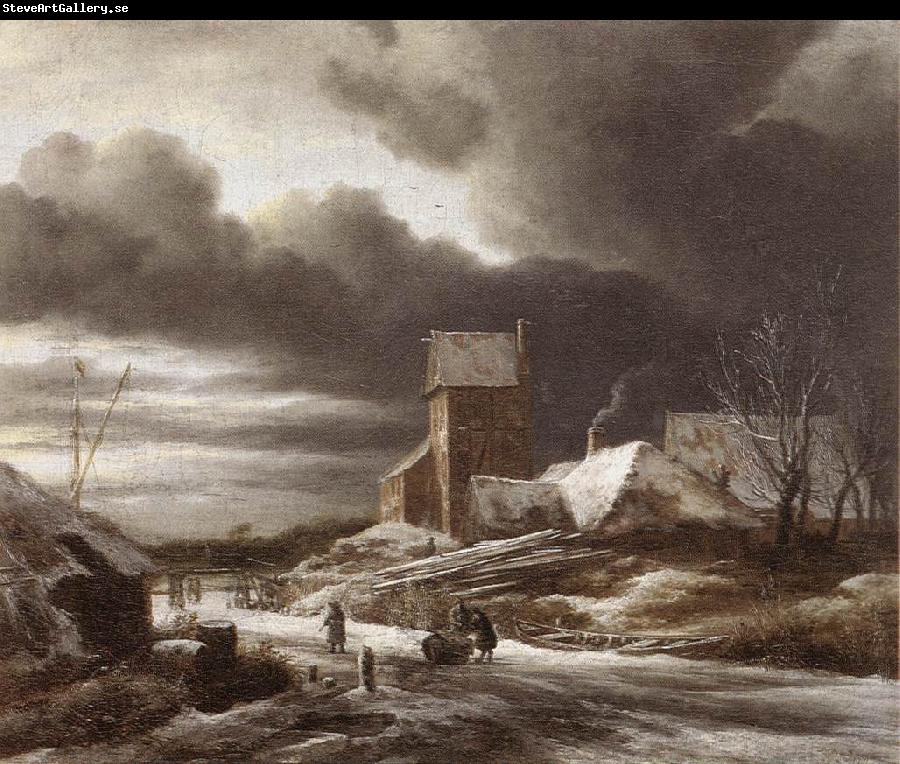 RUISDAEL, Jacob Isaackszon van Winter Landscape af