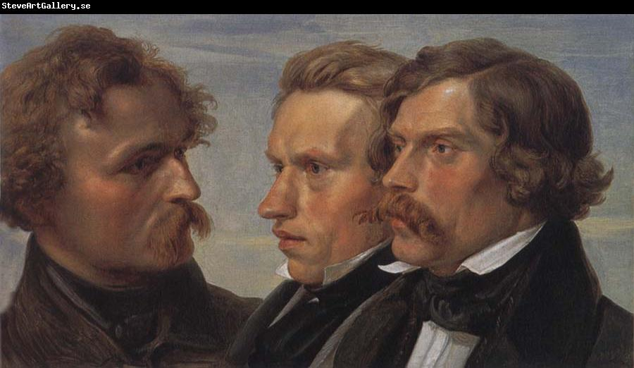 Julius Hubner Portrait of the Painters Carl Friedrich Lessing,Carl Sohn and Theodor Hildebrandt