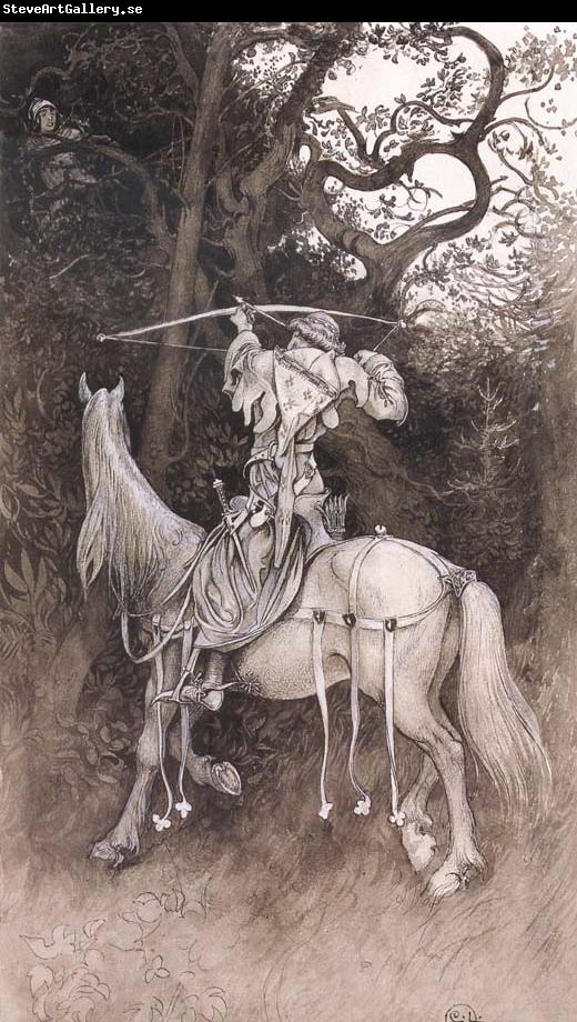 Carl Larsson Erland Draws His Bow Pen and ink Wash-drawing