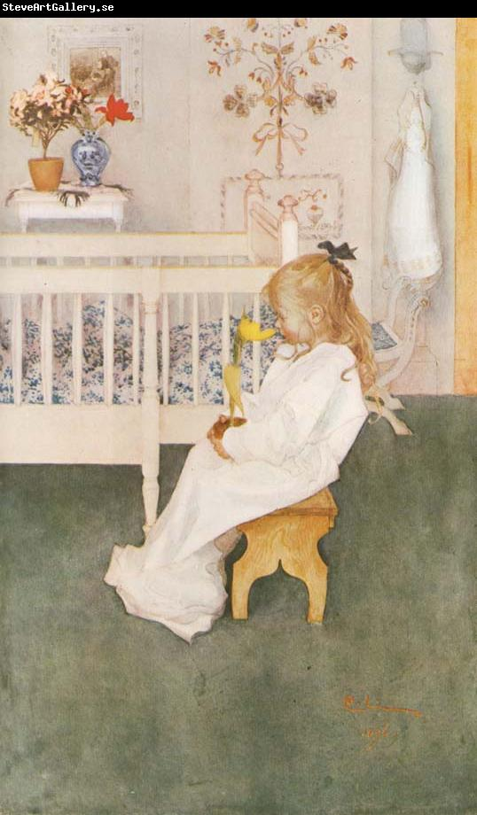 Carl Larsson Lisbeth in her night Dress with a yellow tulip