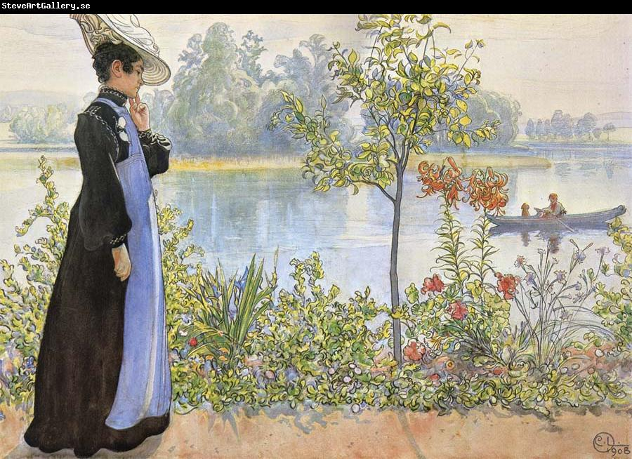 Carl Larsson Late Summer Karin by the Shore