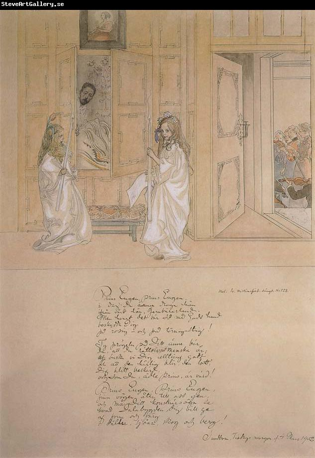 Carl Larsson Morning Serenade for prince Eugen at carl Larsson-s home on march 4 1902