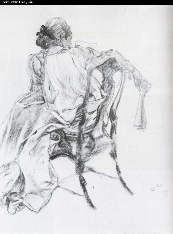Carl Larsson Rococo Model Charcoal