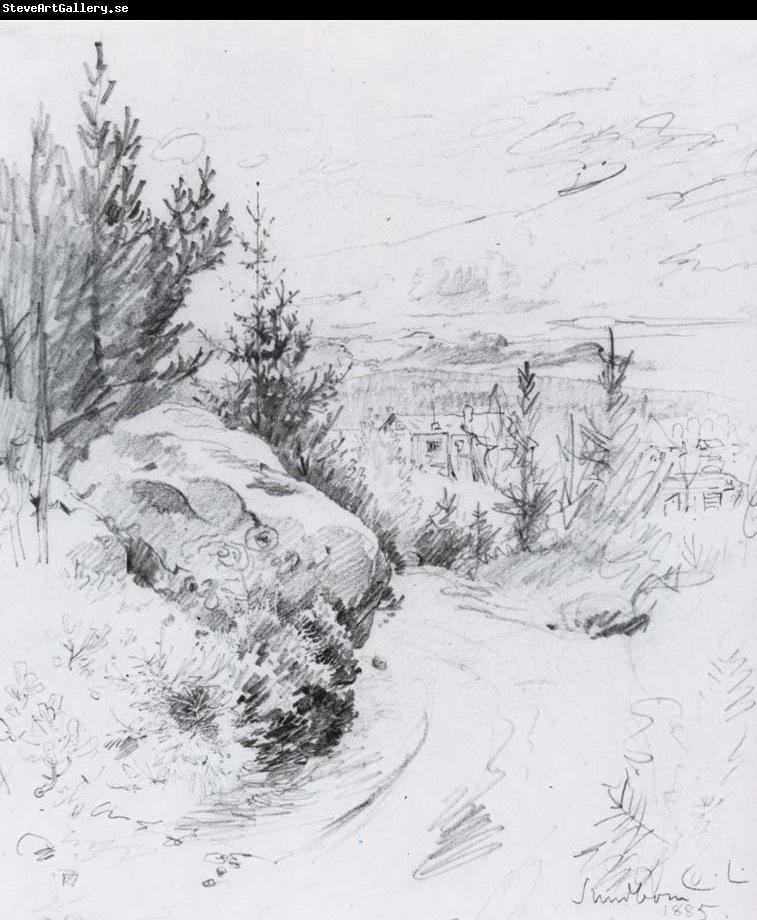 Carl Larsson First Glimpse of Sundborn Pencil