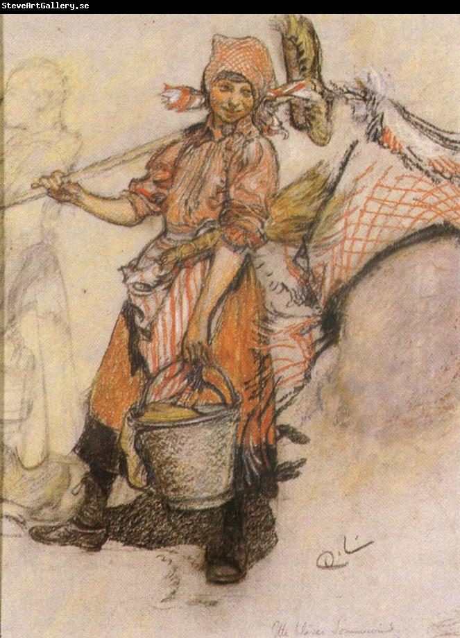 Carl Larsson Study of a Girl wtih Pail and Broom